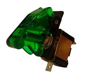 X-D LIGHT SECURITY SWITCH WITH TRANSPARENT CAP GREEN WITH GREEN LED