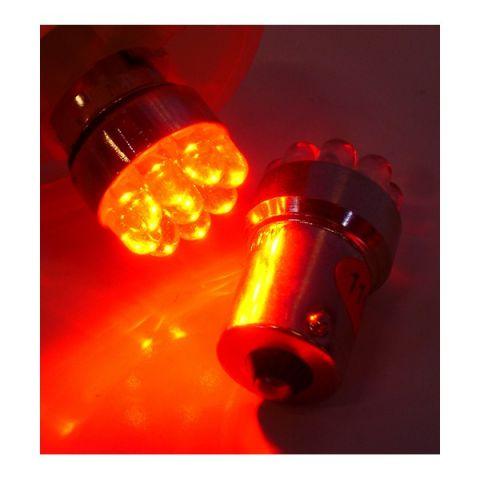 X-D LIGHT LED BULB RED BA15S 9 LEDS EQUALS 5 WATT- PAIR
