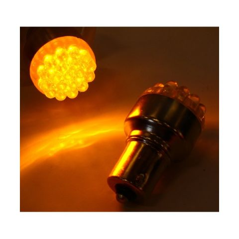 X-D LIGHT LED BULB ORANGE BA15S 9 LEDS 5 WATT- PAIR