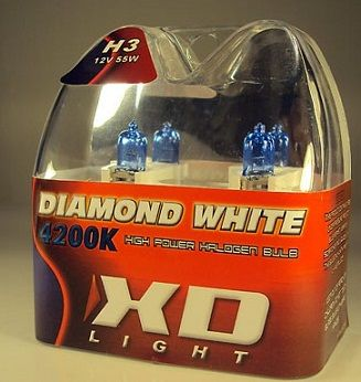 X-D LIGHT H3 DIAMOND WHITE BULBS 4200K - 55W- PAIR IN BOX