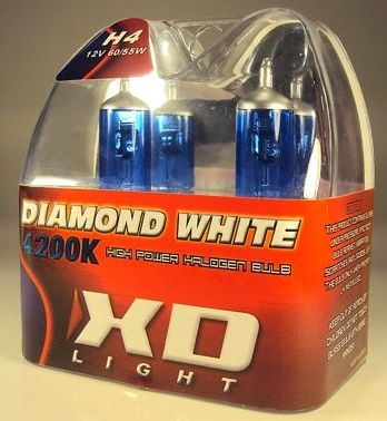 X-D LIGHT H4 DIAMOND WHITE BULBS 4200K - 60/55W- PAIR IN BOX