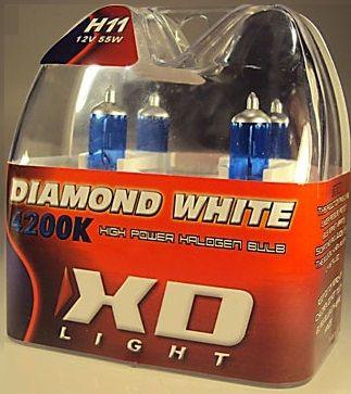 X-D LIGHT H8/H11 DIAMOND WHITE BULBS 4200K - 55W- PAIR IN BOX